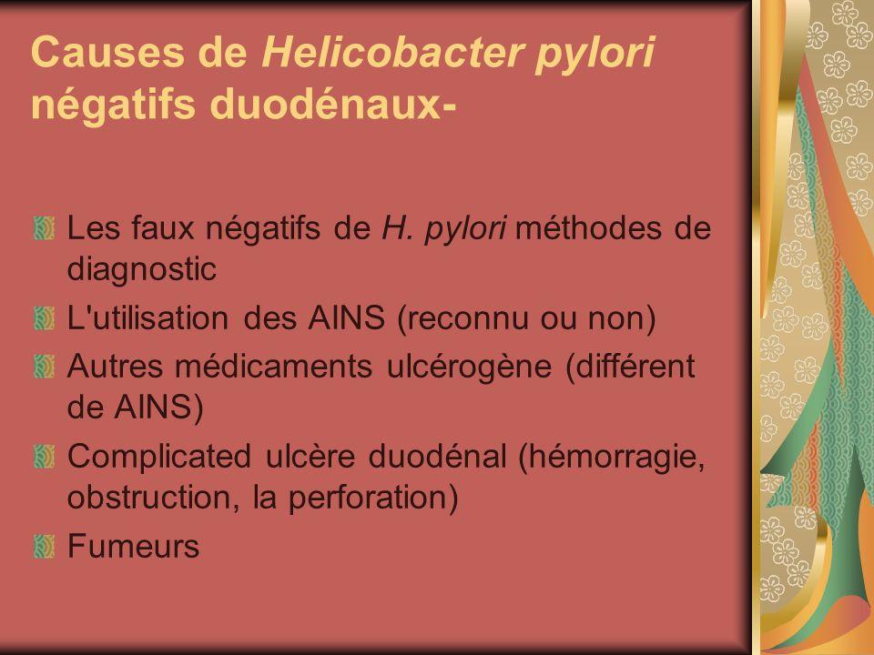 Causes de Helicobacter pylori négatifs duodénaux- Les faux négatifs de H. pylori méthodes de diagnostic L'utilisation des AINS (reconnu ou non) Autres
