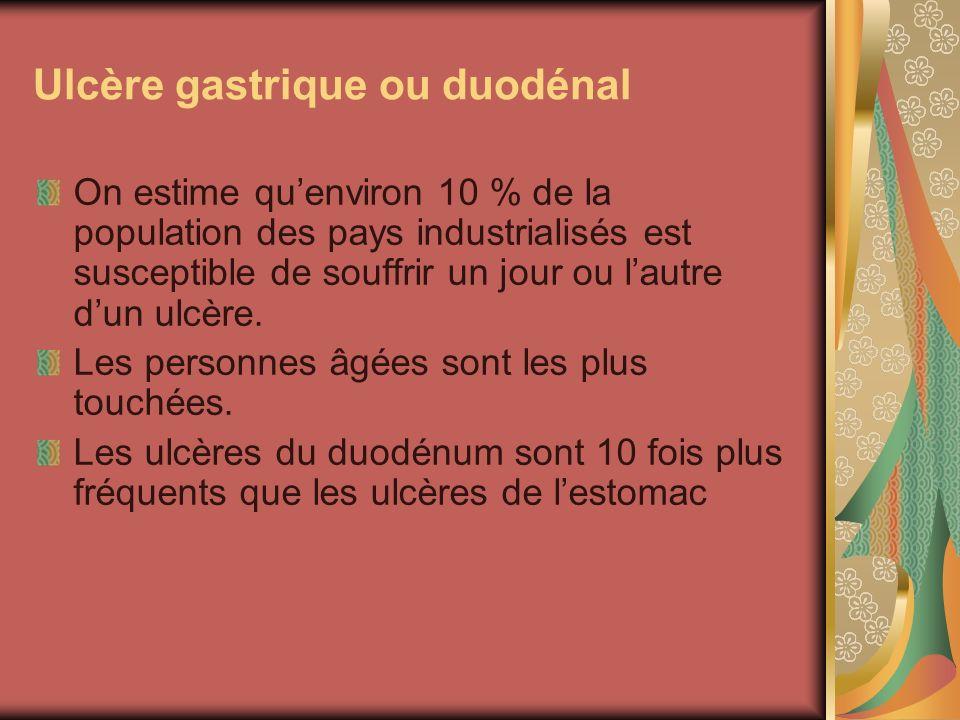 Ulcère gastrique ou duodénal On estime quenviron 10 % de la population des pays industrialisés est susceptible de souffrir un jour ou lautre dun ulcèr