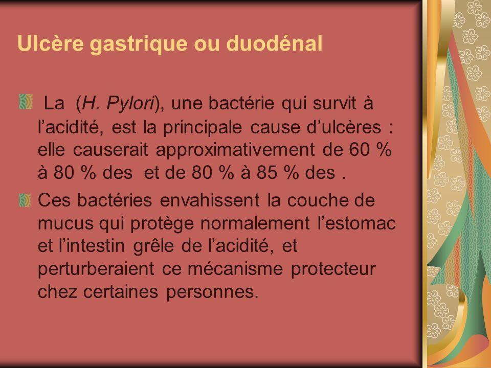 Ulcère gastrique ou duodénal La (H. Pylori), une bactérie qui survit à lacidité, est la principale cause dulcères : elle causerait approximativement d