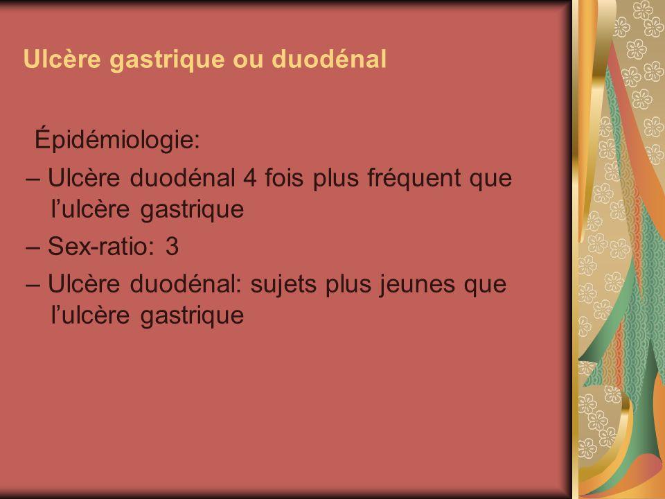 Ulcère gastrique ou duodénal Épidémiologie: – Ulcère duodénal 4 fois plus fréquent que lulcère gastrique – Sex-ratio: 3 – Ulcère duodénal: sujets plus