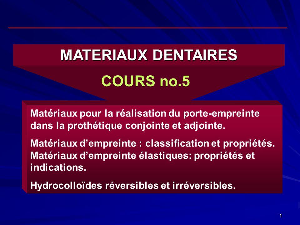 1 MATERIAUX DENTAIRES COURS no.5 Matériaux pour la réalisation du porte-empreinte dans la prothétique conjointe et adjointe.