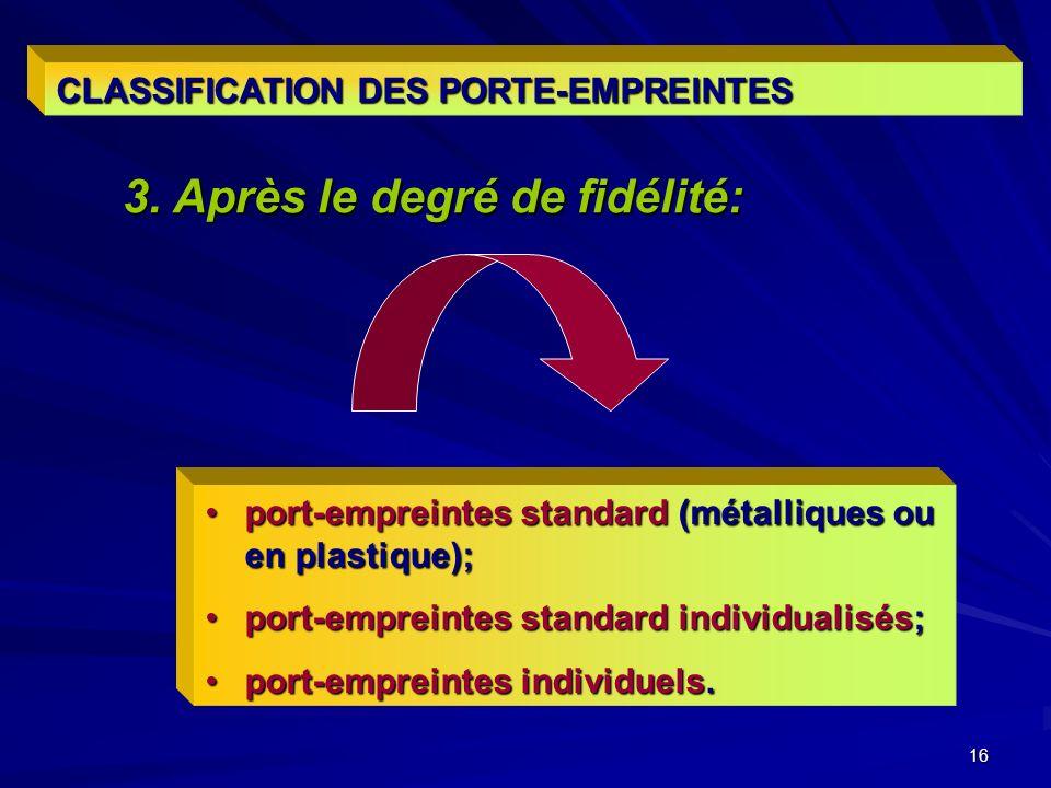 16 CLASSIFICATION DES PORTE-EMPREINTES port-empreintes standard (métalliques ou en plastique);port-empreintes standard (métalliques ou en plastique); port-empreintes standard individualisés;port-empreintes standard individualisés; port-empreintes individuels.port-empreintes individuels.