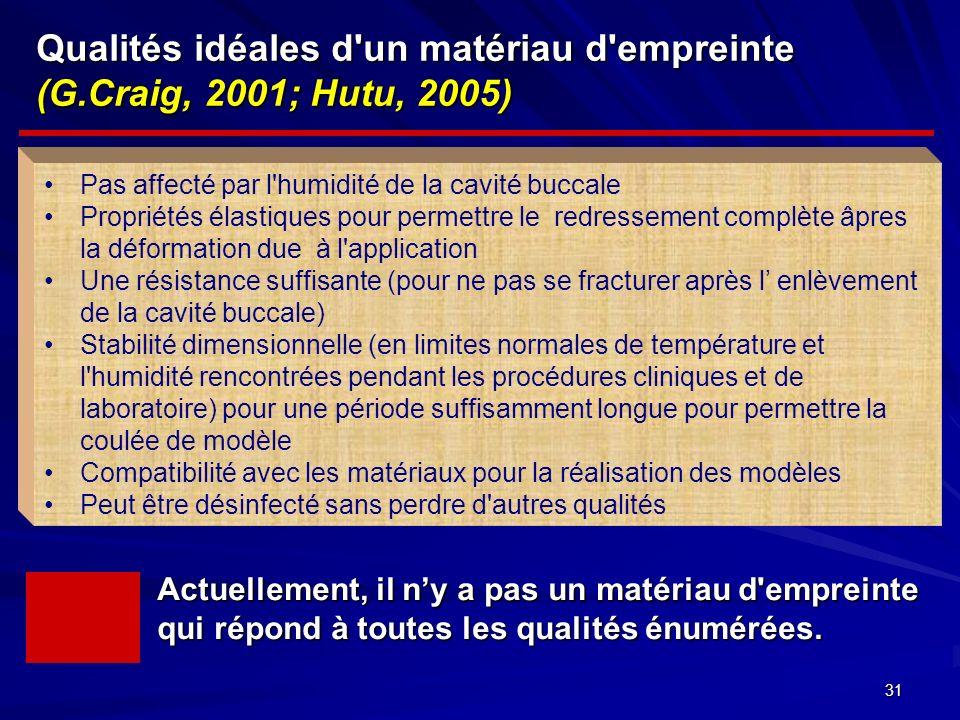 31 Qualités idéales d un matériaud empreinte (G.Craig, 2001; Hutu, 2005) Qualités idéales d un matériau d empreinte (G.Craig, 2001; Hutu, 2005) Pas affecté par l humidité de la cavité buccale Propriétés élastiques pour permettre le redressement complète âpres la déformation due à l application Une résistance suffisante (pour ne pas se fracturer après l enlèvement de la cavité buccale) Stabilité dimensionnelle (en limites normales de température et l humidité rencontrées pendant les procédures cliniques et de laboratoire) pour une période suffisamment longue pour permettre la coulée de modèle Compatibilité avec les matériaux pour la réalisation des modèles Peut être désinfecté sans perdre d autres qualités Actuellement, il ny a pas un matériau d empreinte qui répond à toutes les qualités énumérées.