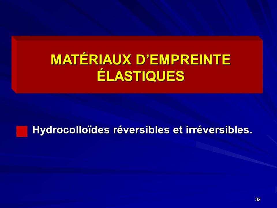32 Hydrocolloïdes réversibles et irréversibles. MATÉRIAUX DEMPREINTE ÉLASTIQUES