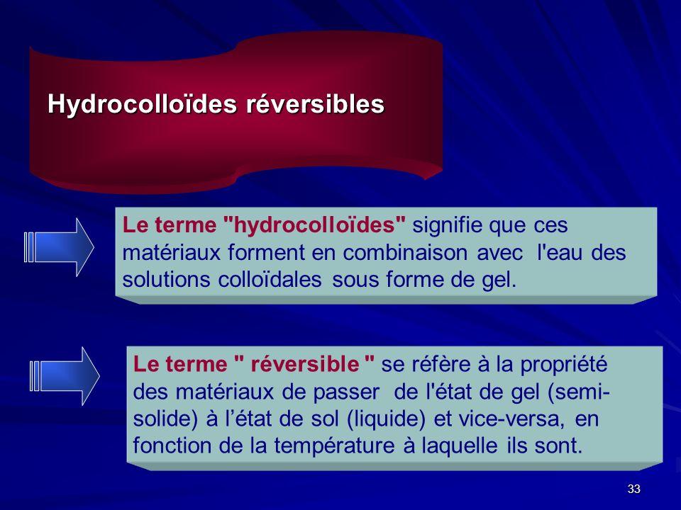 33 Hydrocolloïdes réversibles Le terme hydrocolloïdes signifie que ces matériaux forment en combinaison avec l eau des solutions colloïdales sous forme de gel.