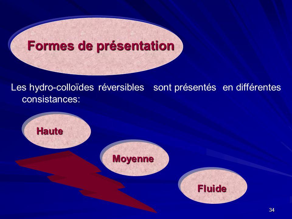 34 Fluide Les hydro-colloïdes réversibles sont présentés en différentes consistances: Formes de présentation Haute Moyenne