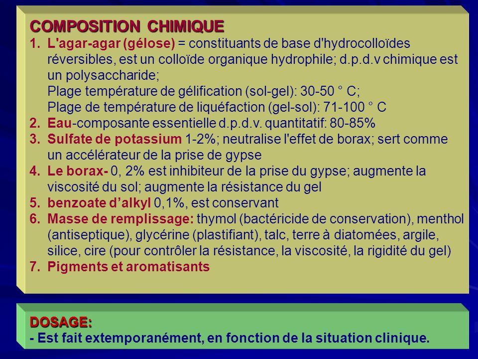 37 COMPOSITION CHIMIQUE 1.L agar-agar (gélose) = constituants de base d hydrocolloïdes réversibles, est un colloïde organique hydrophile; d.p.d.v chimique est un polysaccharide; Plage température de gélification (sol-gel): 30-50 ° C; Plage de température de liquéfaction (gel-sol): 71-100 ° C 2.Eau-composante essentielle d.p.d.v.