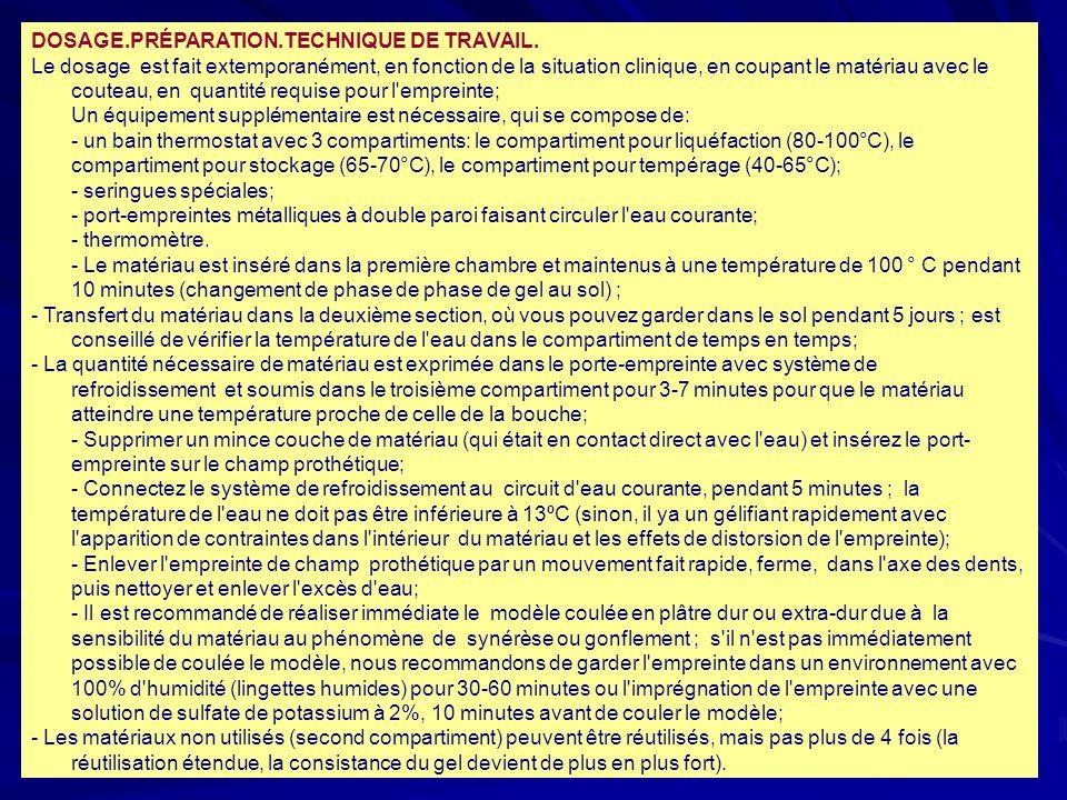 38 DOSAGE.PRÉPARATION.TECHNIQUE DE TRAVAIL.