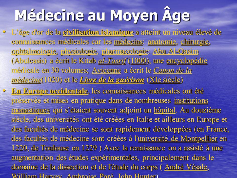 Médecine au Moyen Âge Lâge d or de la civilisation islamique a atteint un niveau élevé de connaissances médicales car les médecins: anatomie, chirurgie, ophtalmologie, physiologie, pharmacologie: Abu Al-Qasim (Abulcasis) a écrit le Kitab al-Tasrif (1000), une encyclopédie médicale en 30 volumes; Avicenne a écrit le Canon de la médecine(1020) et le Livre de la guérison (XIe siècle) Lâge d or de la civilisation islamique a atteint un niveau élevé de connaissances médicales car les médecins: anatomie, chirurgie, ophtalmologie, physiologie, pharmacologie: Abu Al-Qasim (Abulcasis) a écrit le Kitab al-Tasrif (1000), une encyclopédie médicale en 30 volumes; Avicenne a écrit le Canon de la médecine(1020) et le Livre de la guérison (XIe siècle)médecinsanatomiechirurgie ophtalmologiephysiologiepharmacologieAbu Al-Qasimal-Tasrif1000encyclopédieAvicenneCanon de la médecineLivre de la guérisonXIe sièclemédecinsanatomiechirurgie ophtalmologiephysiologiepharmacologieAbu Al-Qasimal-Tasrif1000encyclopédieAvicenneCanon de la médecineLivre de la guérisonXIe siècle En Europe occidentale, les connaissances médicales ont été préservée et mises en pratique dans de nombreuses institutions monastiques qui sétaient souvent adjoint un hôpital.