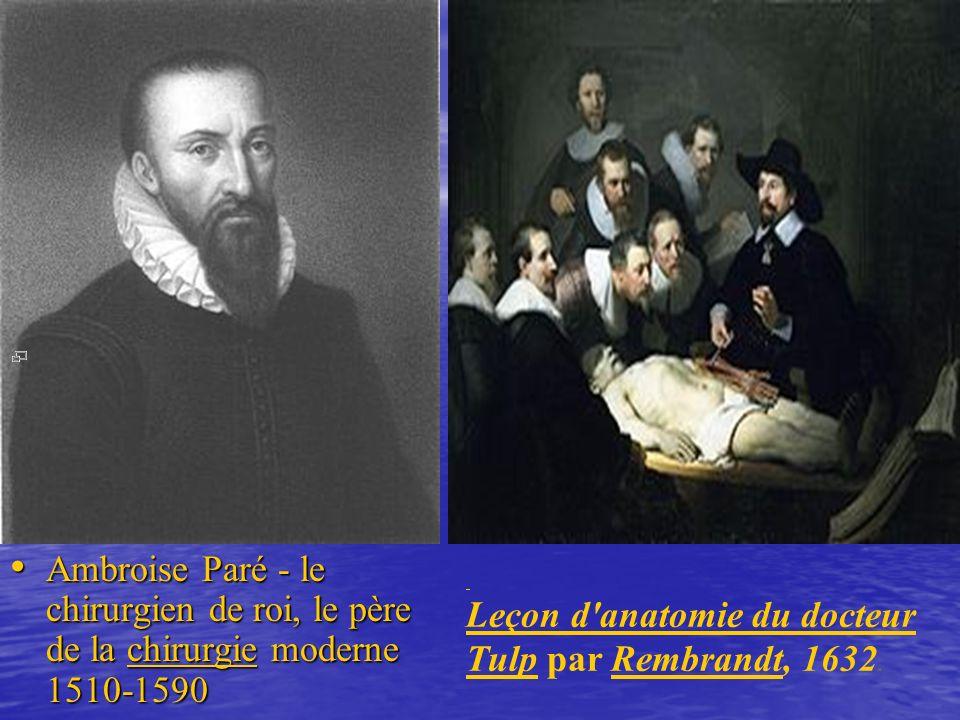 Ambroise Paré - le chirurgien de roi, le père de la chirurgie moderne 1510-1590 Ambroise Paré - le chirurgien de roi, le père de la chirurgie moderne 1510-1590chirurgie Leçon d anatomie du docteur TulpLeçon d anatomie du docteur Tulp par Rembrandt, 1632.Rembrandt