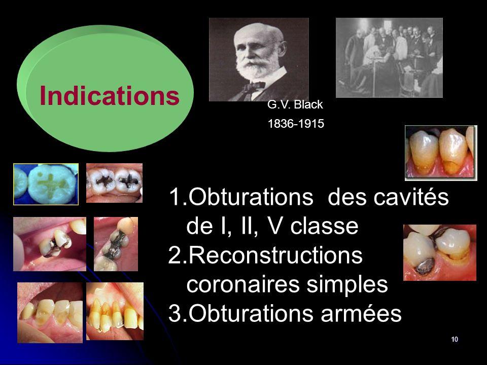10 Indications 1.Obturations des cavités de I, II, V classe 2.Reconstructions coronaires simples 3.Obturations armées 1836-1915 G.V. Black