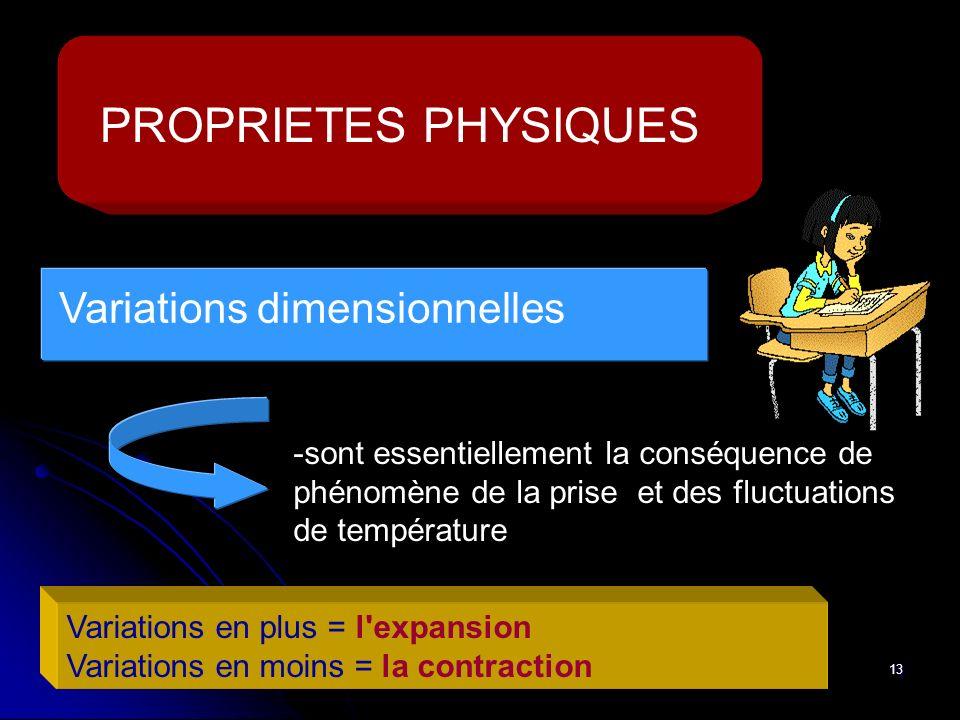 13 PROPRIETES PHYSIQUES -sont essentiellement la conséquence de phénomène de la prise et des fluctuations de température Variations en plus = l'expans