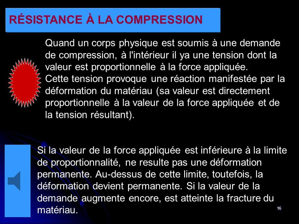 16 RÉSISTANCE À LA COMPRESSION Quand un corps physique est soumis à une demande de compression, à l'intérieur il ya une tension dont la valeur est pro