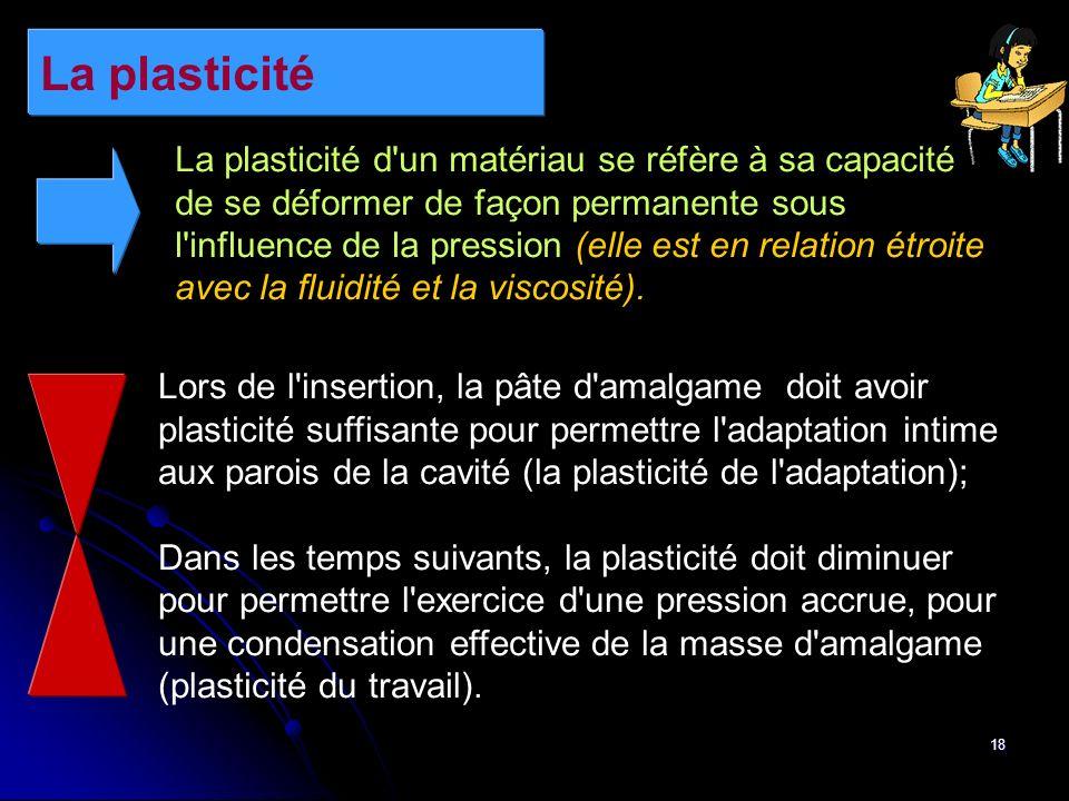 18 La plasticité La plasticité d'un matériau se réfère à sa capacité de se déformer de façon permanente sous l'influence de la pression (elle est en r