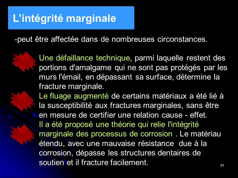 21 Lintégrité marginale -peut être affectée dans de nombreuses circonstances. Une défaillance technique, parmi laquelle restent des portions d'amalgam