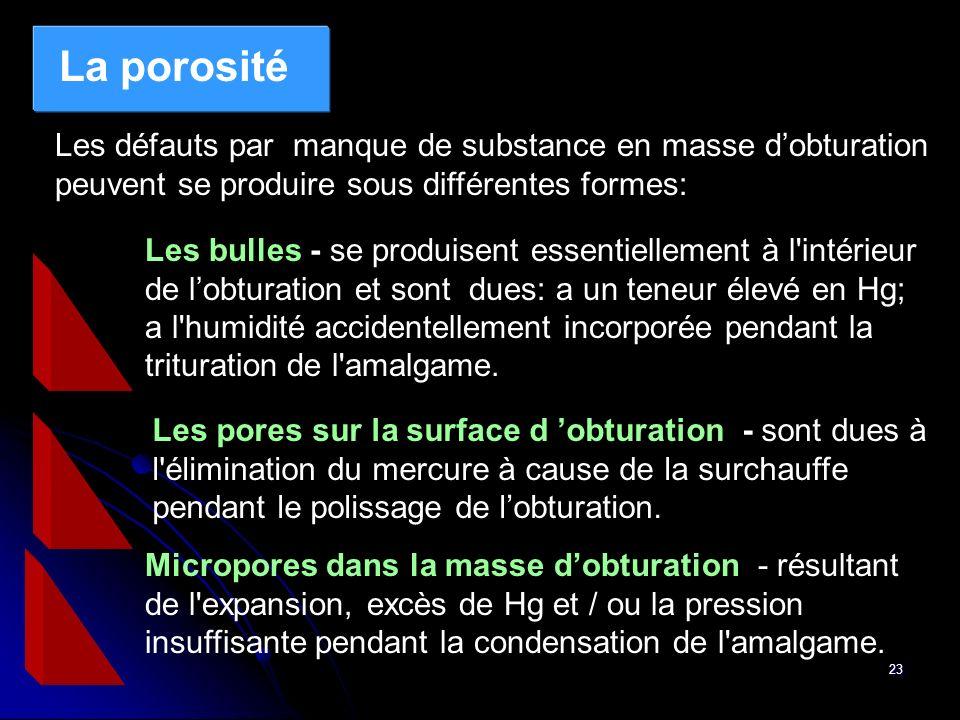 23 La porosité Les défauts par manque de substance en masse dobturation peuvent se produire sous différentes formes: Les bulles - se produisent essent