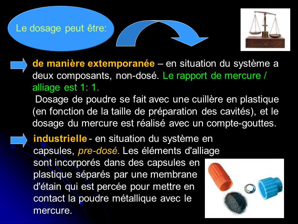 27 Le dosage peut être: industrielle - en situation du système en capsules, pre-dosé. Les éléments d'alliage sont incorporés dans des capsules en plas
