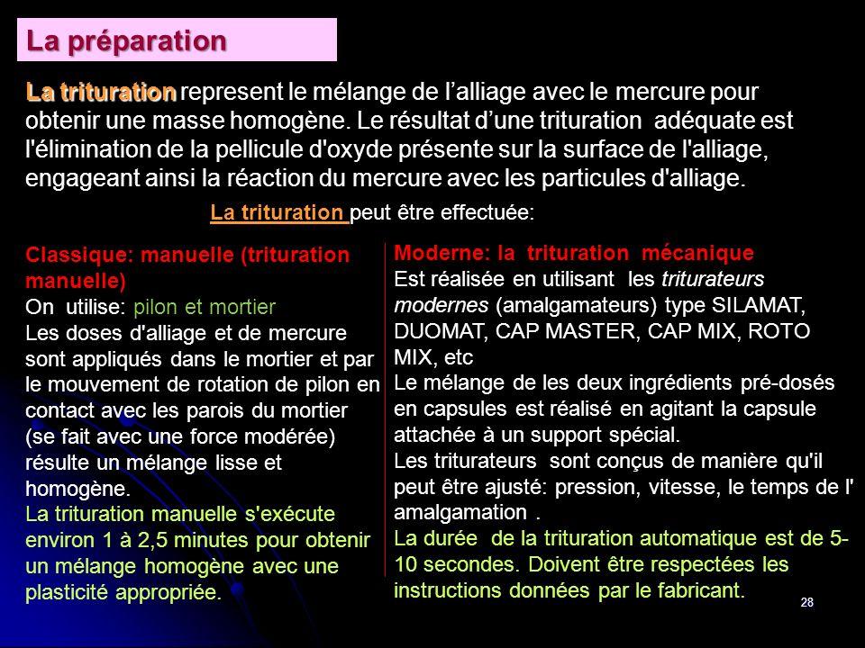 28 La trituration La trituration represent le mélange de lalliage avec le mercure pour obtenir une masse homogène. Le résultat dune trituration adéqua