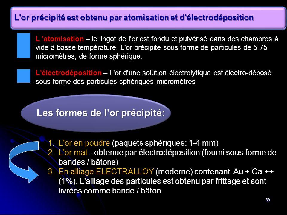 39 L'or précipité est obtenu par atomisation et d'électrodéposition 1.L'or en poudre (paquets sphériques: 1-4 mm) 2.L'or mat - obtenue par électrodépo