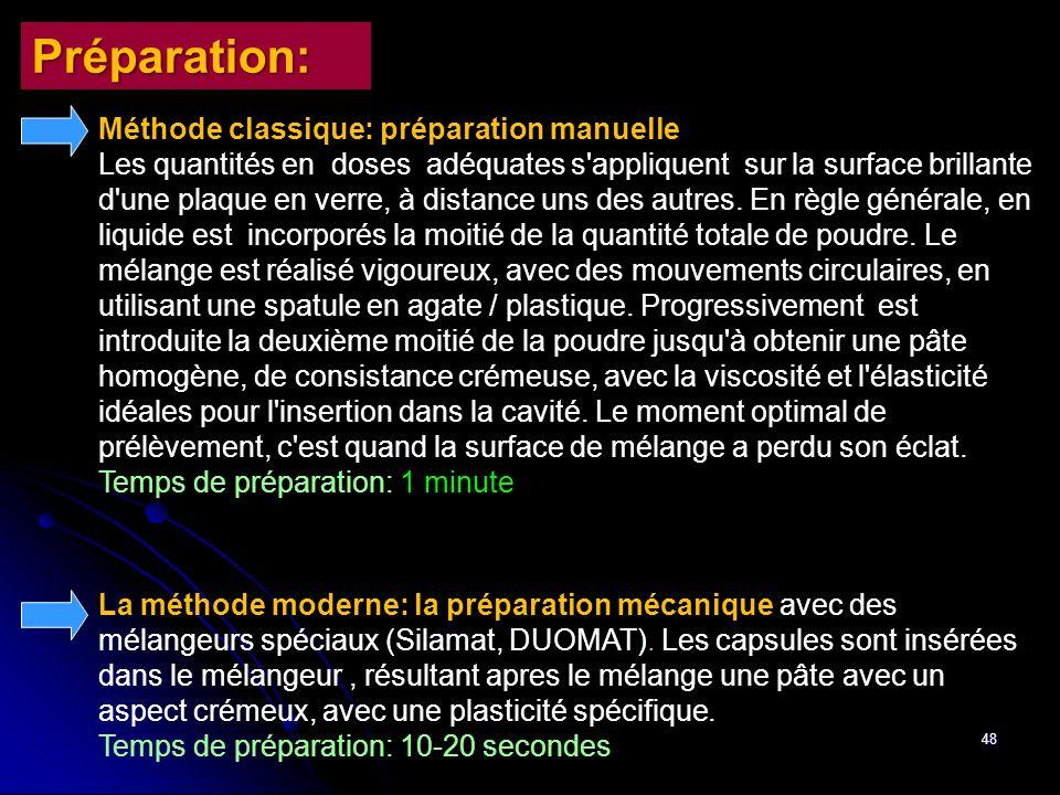 48 Méthode classique: préparation manuelle Les quantités en doses adéquates s'appliquent sur la surface brillante d'une plaque en verre, à distance un