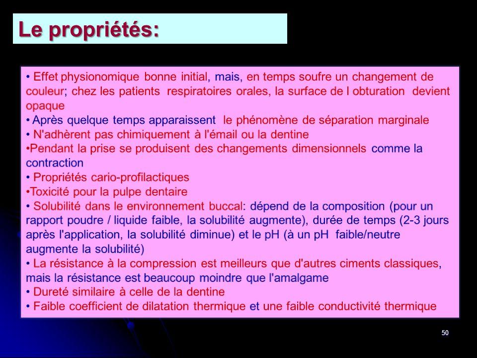 50 Le propriétés: