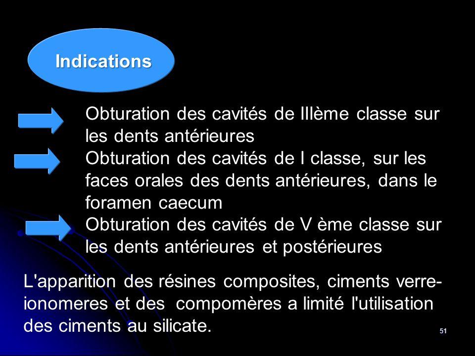 51 Obturation des cavités de IIIème classe sur les dents antérieures Obturation des cavités de I classe, sur les faces orales des dents antérieures, d
