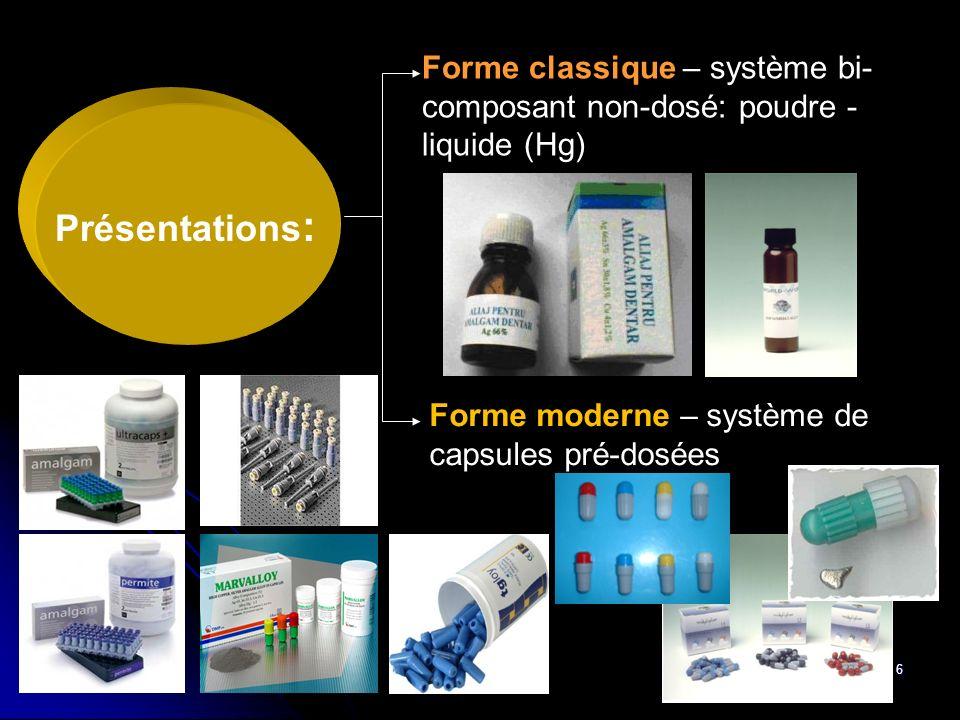 6 Présentations : Forme classique – système bi- composant non-dosé: poudre - liquide (Hg) Forme moderne – système de capsules pré-dosées