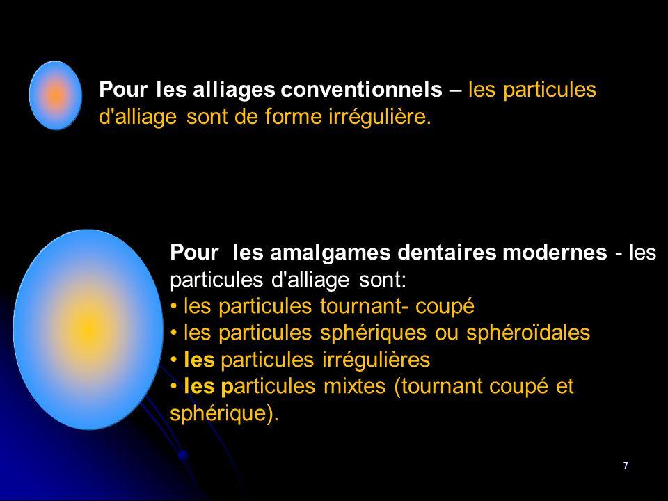 7 Pour les amalgames dentaires modernes - les particules d'alliage sont: les particules tournant- coupé les particules sphériques ou sphéroïdales les