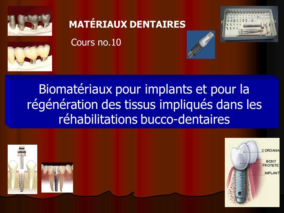 1 MATÉRIAUX DENTAIRES Cours no.10 Biomatériaux pour implants et pour la régénération des tissus impliqués dans les réhabilitations bucco-dentaires