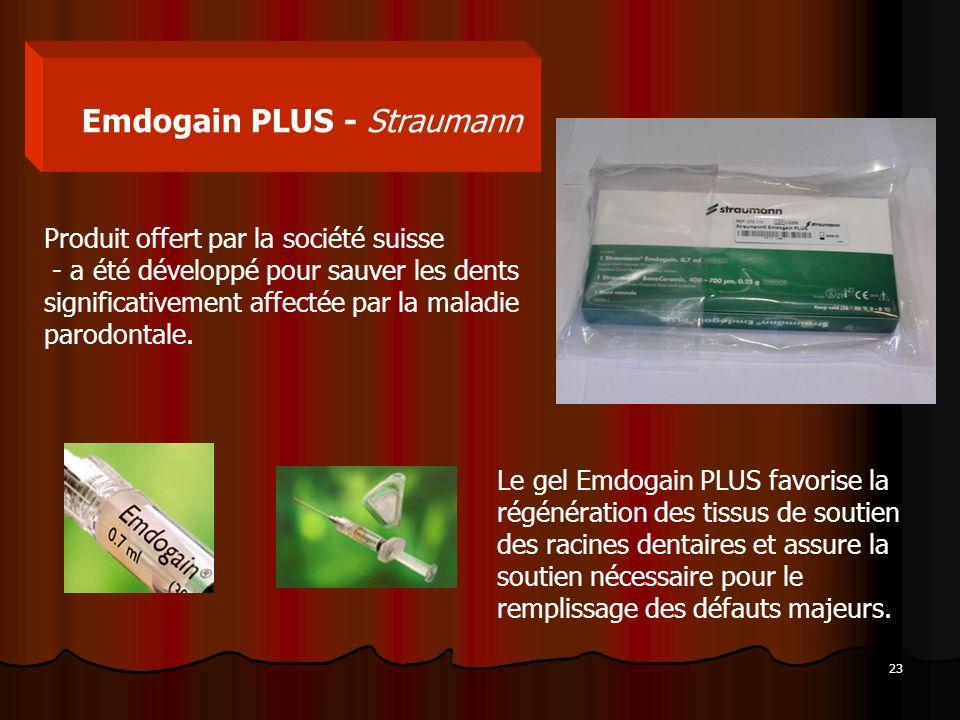 23 Emdogain PLUS - Straumann Produit offert par la société suisse - a été développé pour sauver les dents significativement affectée par la maladie pa