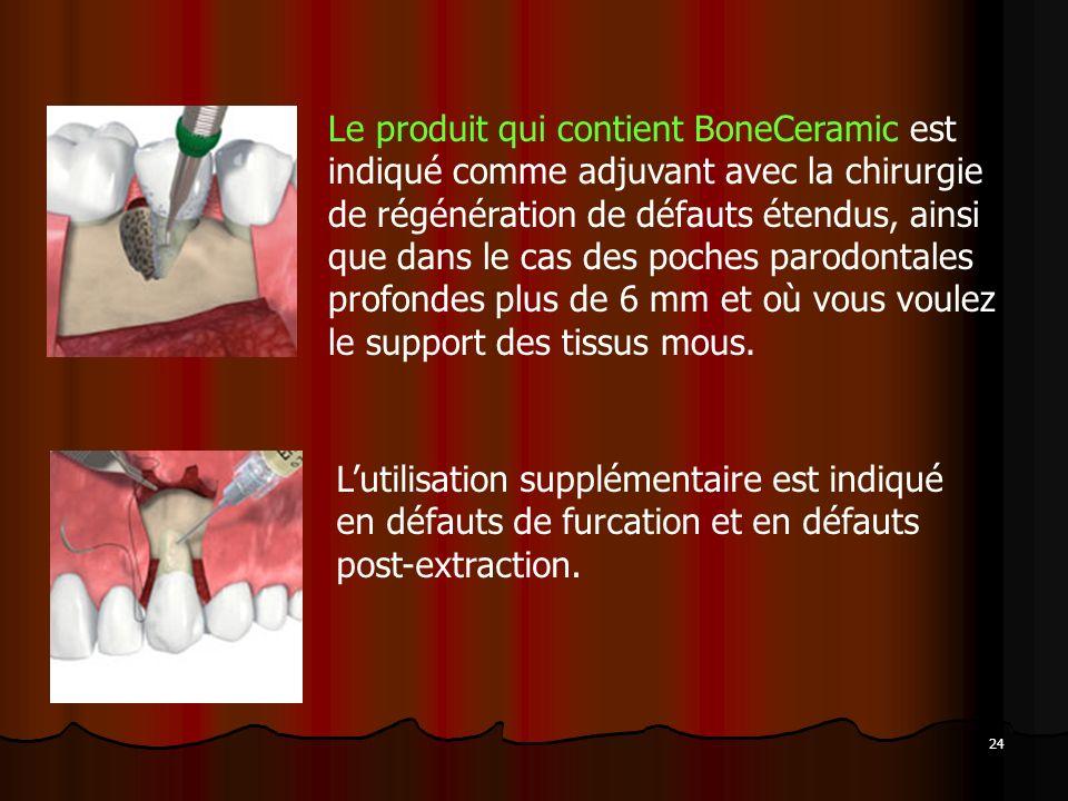 24 Le produit qui contient BoneCeramic est indiqué comme adjuvant avec la chirurgie de régénération de défauts étendus, ainsi que dans le cas des poch