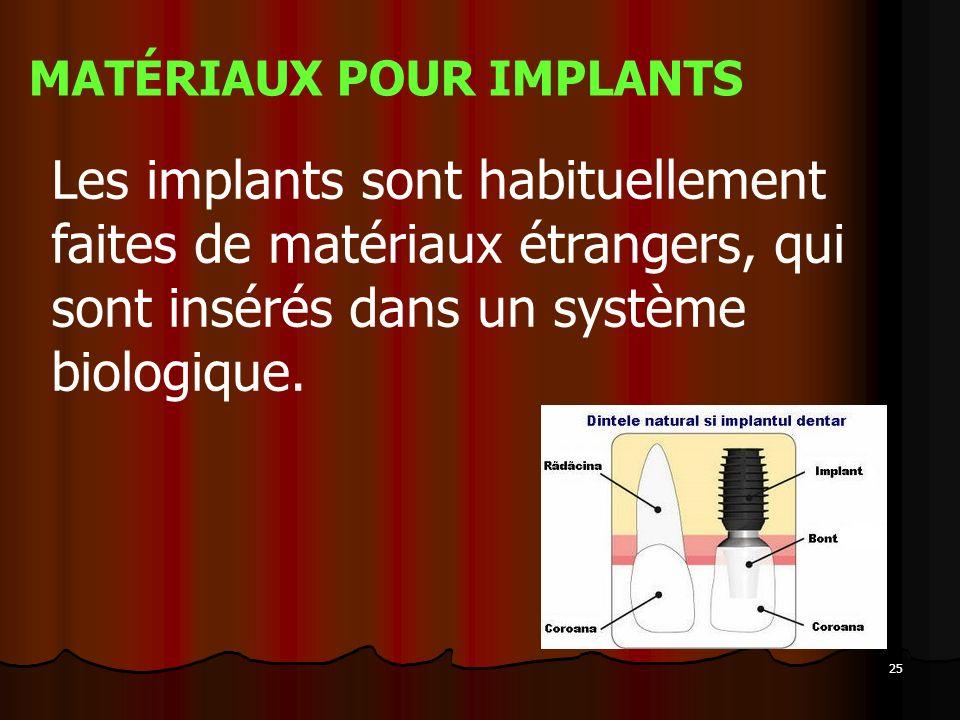 25 MATÉRIAUX POUR IMPLANTS Les implants sont habituellement faites de matériaux étrangers, qui sont insérés dans un système biologique.