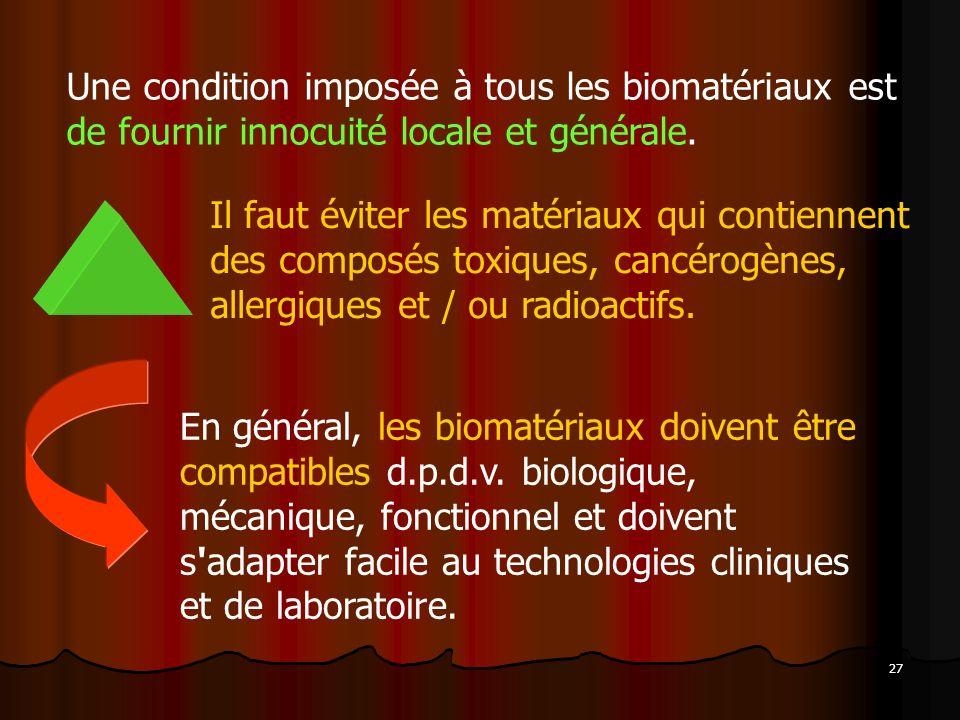 27 Une condition imposée à tous les biomatériaux est de fournir innocuité locale et générale. Il faut éviter les matériaux qui contiennent des composé