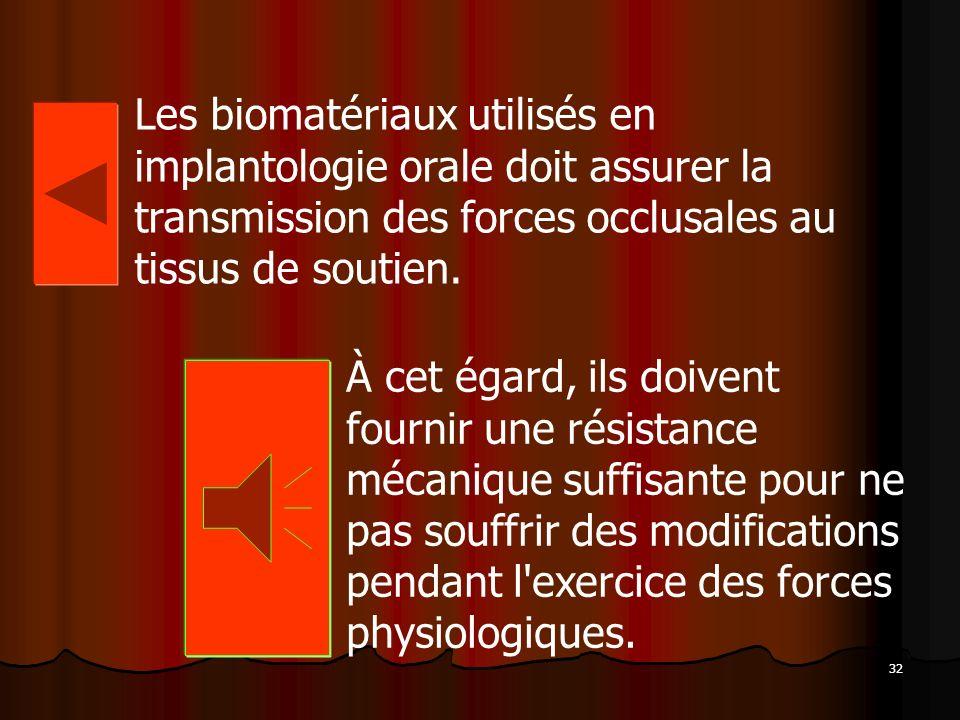 32 Les biomatériaux utilisés en implantologie orale doit assurer la transmission des forces occlusales au tissus de soutien. À cet égard, ils doivent