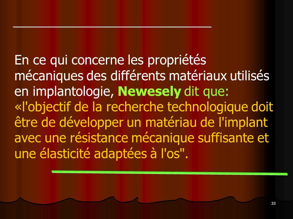 33 En ce qui concerne les propriétés mécaniques des différents matériaux utilisés en implantologie, Newesely dit que: «l'objectif de la recherche tech