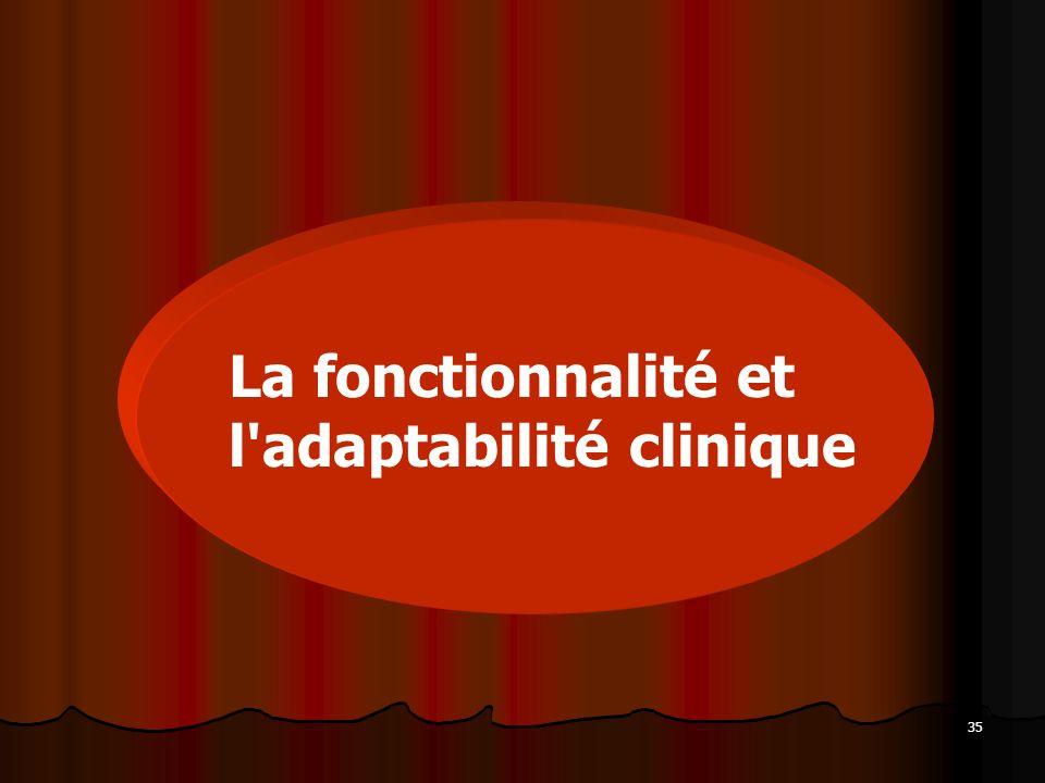 35 La fonctionnalité et l'adaptabilité clinique