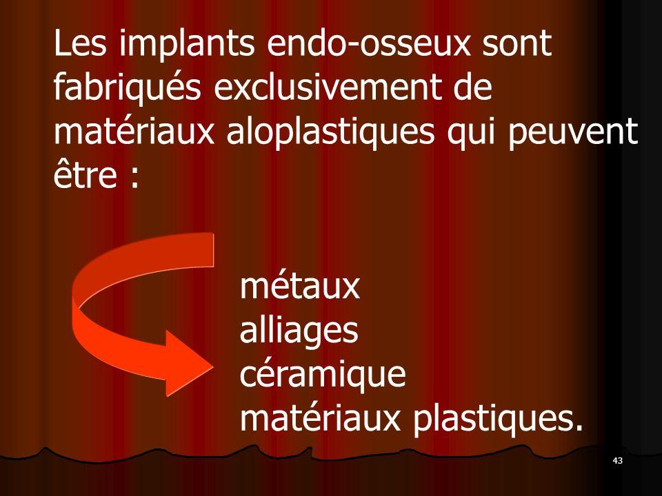 43 Les implants endo-osseux sont fabriqués exclusivement de matériaux aloplastiques qui peuvent être : métaux alliages céramique matériaux plastiques.