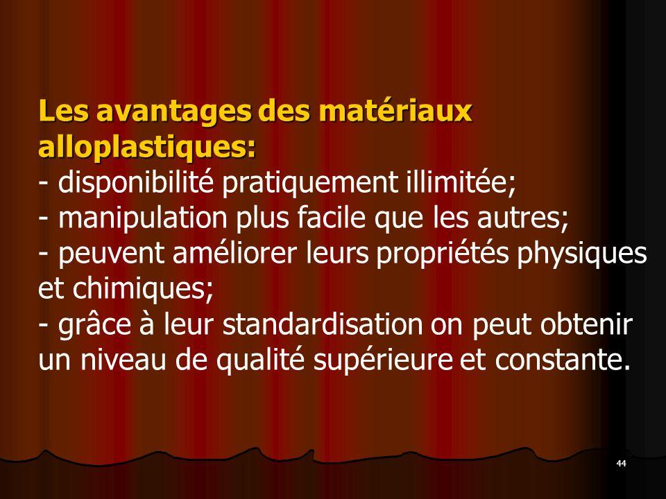 44 Les avantages des matériaux alloplastiques: - disponibilité pratiquement illimitée; - manipulation plus facile que les autres; - peuvent améliorer