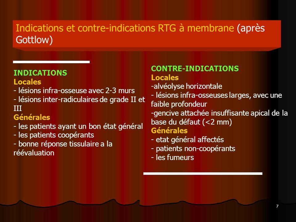 7 Indications et contre-indications RTG à membrane (après Gottlow) INDICATIONS Locales - lésions infra-osseuse avec 2-3 murs - lésions inter-radiculai