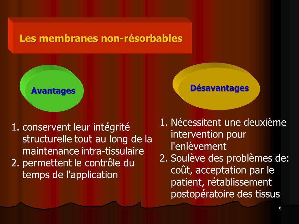 9 Les membranes résorbables Avantages L enlèvement ne nécessite aucun travail supplémentaire, de réduire l inconfort du patient, le temps et les coûts du travail, élimine les conséquences potentielles de main-d œuvre chirurgicale.