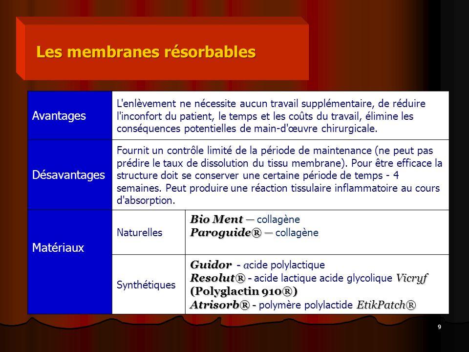 9 Les membranes résorbables Avantages L'enlèvement ne nécessite aucun travail supplémentaire, de réduire l'inconfort du patient, le temps et les coûts