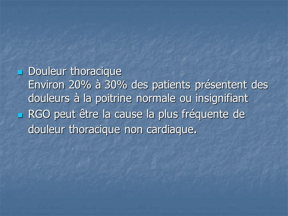 Douleur thoracique Environ 20% à 30% des patients présentent des douleurs à la poitrine normale ou insignifiant Douleur thoracique Environ 20% à 30% d