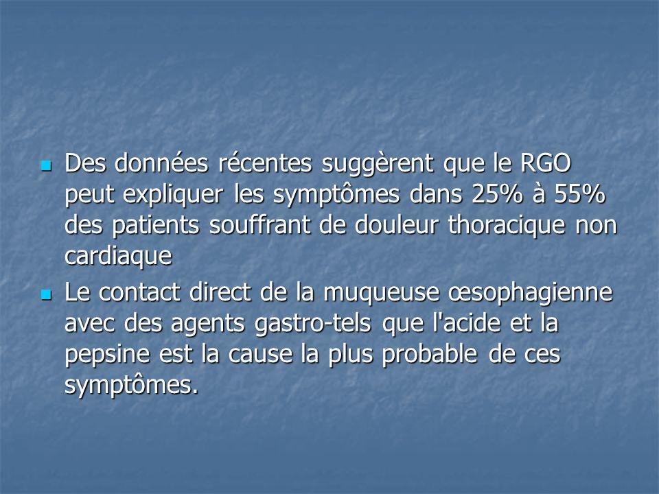 Des données récentes suggèrent que le RGO peut expliquer les symptômes dans 25% à 55% des patients souffrant de douleur thoracique non cardiaque Des données récentes suggèrent que le RGO peut expliquer les symptômes dans 25% à 55% des patients souffrant de douleur thoracique non cardiaque Le contact direct de la muqueuse œsophagienne avec des agents gastro-tels que l acide et la pepsine est la cause la plus probable de ces symptômes.