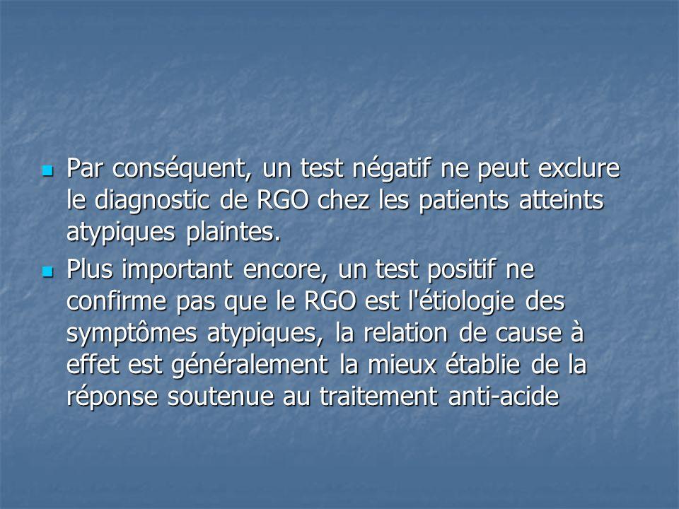 Par conséquent, un test négatif ne peut exclure le diagnostic de RGO chez les patients atteints atypiques plaintes. Par conséquent, un test négatif ne
