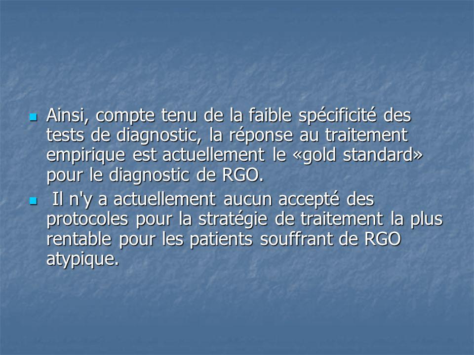 Ainsi, compte tenu de la faible spécificité des tests de diagnostic, la réponse au traitement empirique est actuellement le «gold standard» pour le diagnostic de RGO.