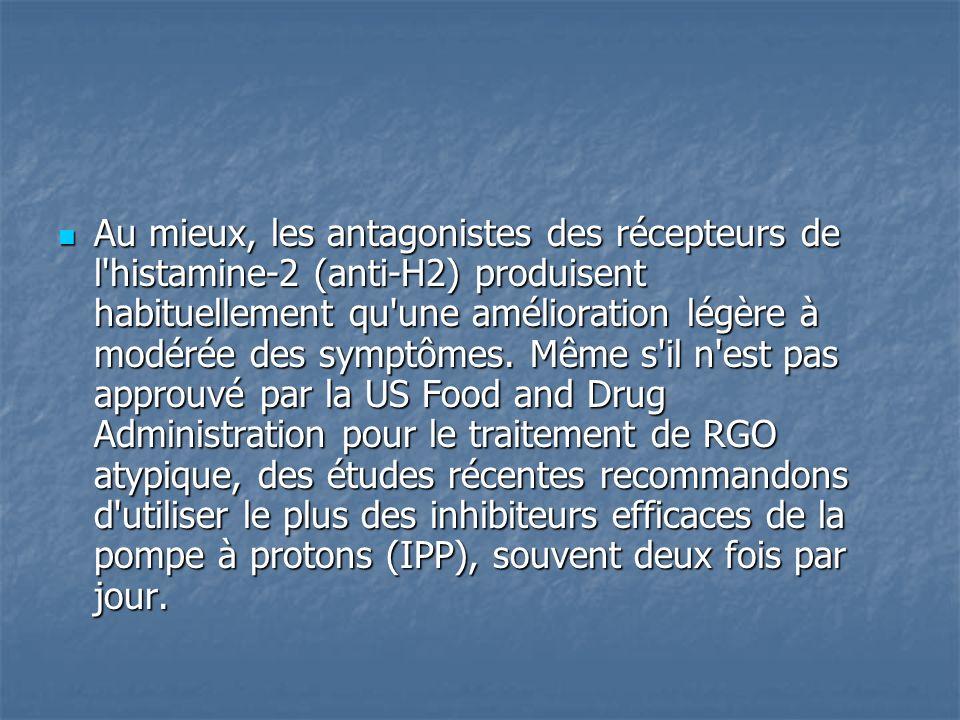 Au mieux, les antagonistes des récepteurs de l'histamine-2 (anti-H2) produisent habituellement qu'une amélioration légère à modérée des symptômes. Mêm