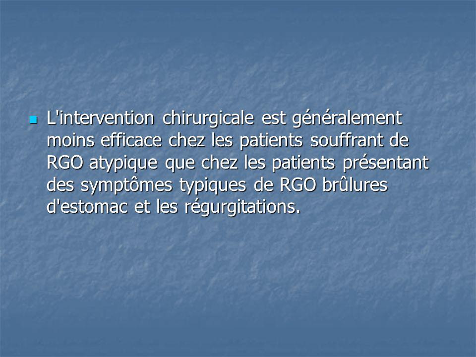 L intervention chirurgicale est généralement moins efficace chez les patients souffrant de RGO atypique que chez les patients présentant des symptômes typiques de RGO brûlures d estomac et les régurgitations.