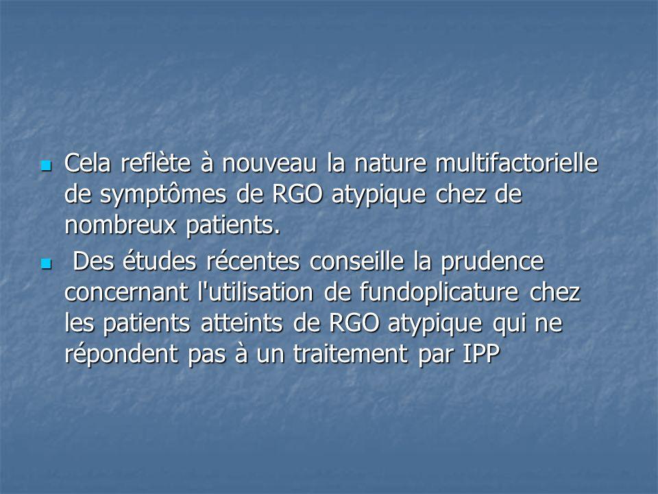 Cela reflète à nouveau la nature multifactorielle de symptômes de RGO atypique chez de nombreux patients. Cela reflète à nouveau la nature multifactor