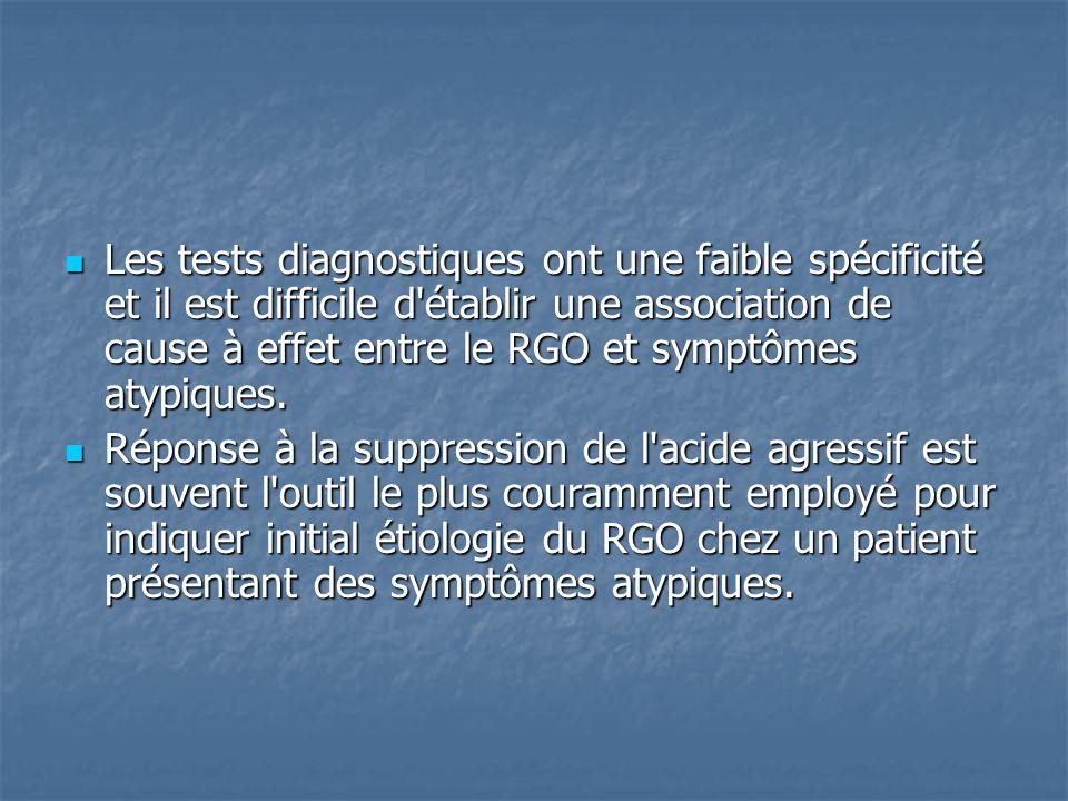 Les tests diagnostiques ont une faible spécificité et il est difficile d'établir une association de cause à effet entre le RGO et symptômes atypiques.