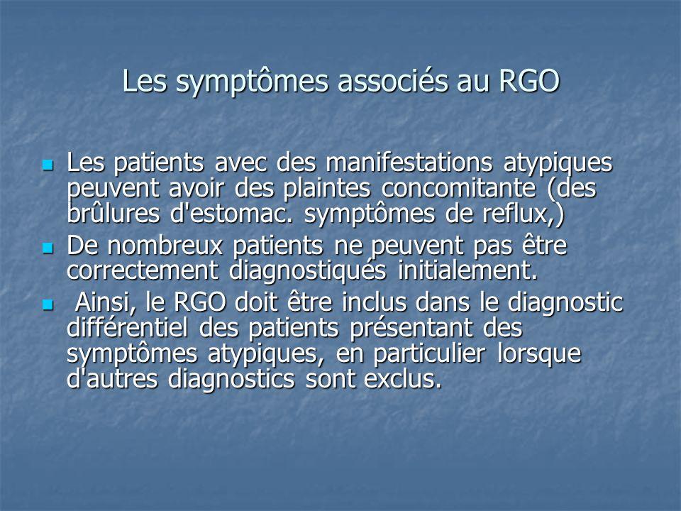 Les symptômes associés au RGO Les patients avec des manifestations atypiques peuvent avoir des plaintes concomitante (des brûlures d'estomac. symptôme
